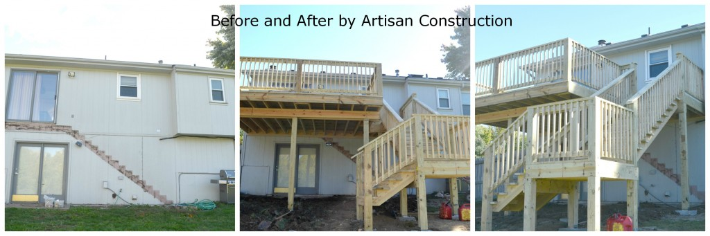 Before and After deck build by the general contractors of Artisan Construction, 7321 N Antioch Gladstone, MO  64119