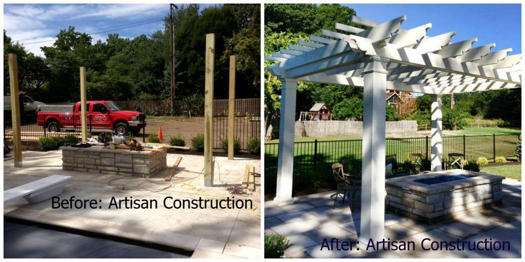 Before and after pergola from Artisan Construction, 7321 N Antioch Gladstone, MO  64119. They can bjuild the perfect pergola to compliment your backyard or pool area.