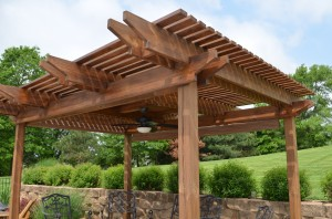 Backyard pergola design and build by Artisan Construction, 7321 N Antioch Gladstone, MO  64119. When you want your pergola designed and built by professionals, trust Artisan Construction