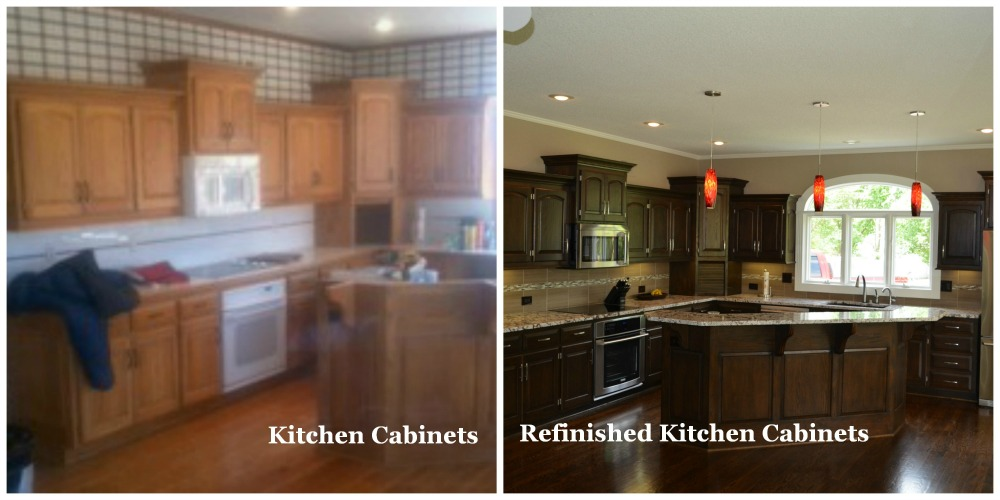 Refinishing Kitchen Cabinets, Before And After