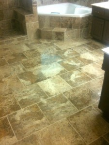 Bathroom tile floor by Artisan Construction, 7321 N Antioch Gladstone, MO  64119