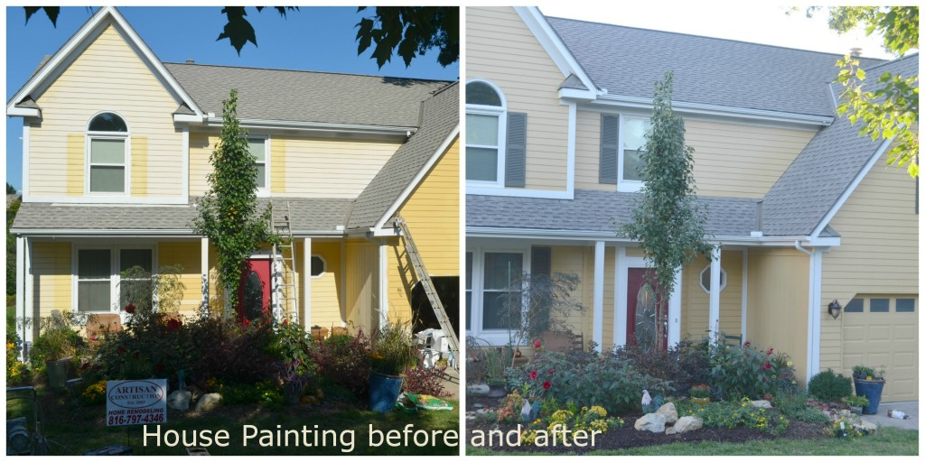 House Painting before and after by Artisan Construction, 7321 N Antioch Gladstone, MO  64119