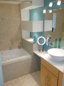 A good tip for a  renovation is to choose 3 colors. The smaller the space the lighter the color palate.  Choose Artisan Construction, 7321 N Antioch Gladstone, MO  64119 to remodel your small bathroom.